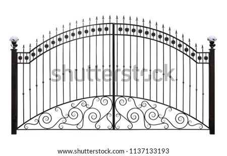 Forged gates  with decor.  Isolated over white background. #1137133193