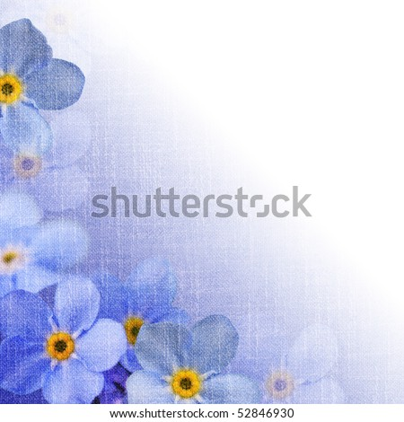 forget-me-not, floral garland, background for your text with canvas texture