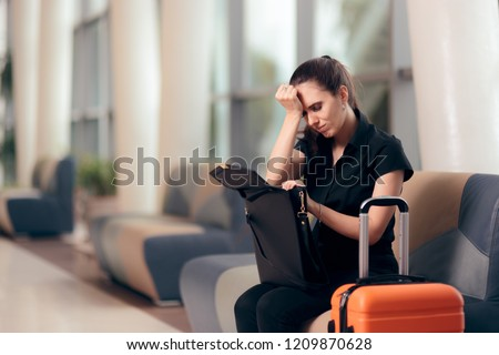 Forgetful Girl Checking her Bag in an Airport. Woman loosing passport, documents or money waiting in terminal