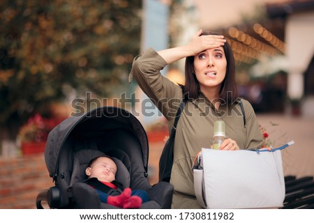 Forgetful Mother Holding Baby Bag Traveling  with Newborn. Stressed mom remembering she forgot formula home