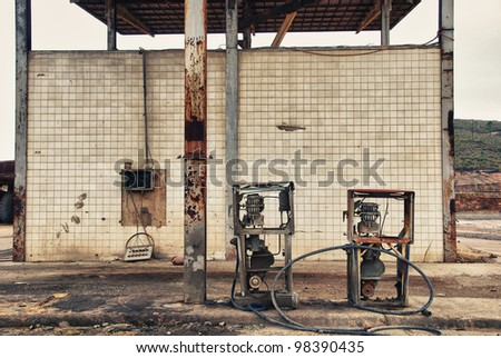 Forgotte worlds - old pumps. Abandoned fuel pumps Tharsis mines, Spain