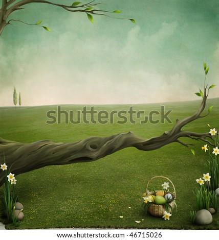 Forgotten basket, background for the Easter cards