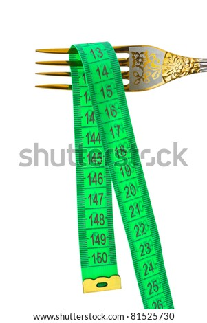 Fork and measuring tape isolated on white background - stock photo