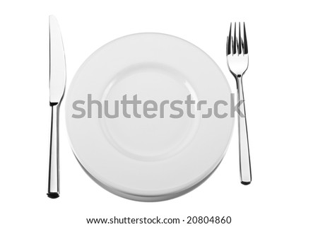 fork, knife and a white plate on a mirror