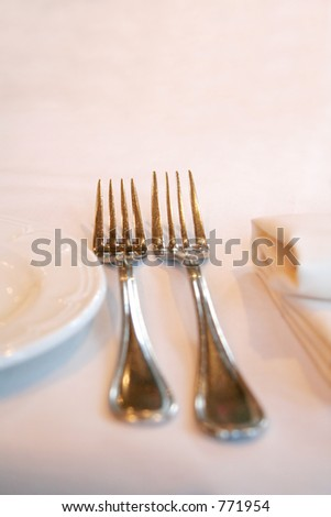 fork, knife and napkin.