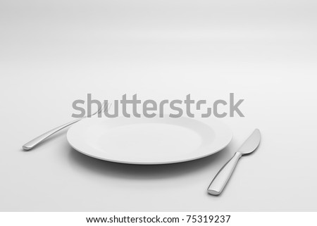 Fork, Knife and plate isolated on white background