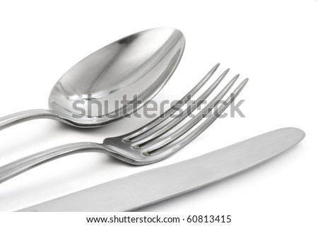 Fork, knife and spoon isolated on white background