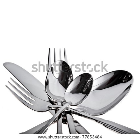 fork , knife and spoon on a white background