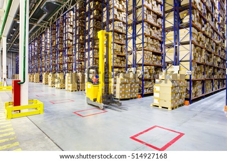 Fork lift operator preparing products for shipment #514927168