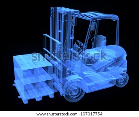 Fork lift truck, with cardboards,  x-ray version