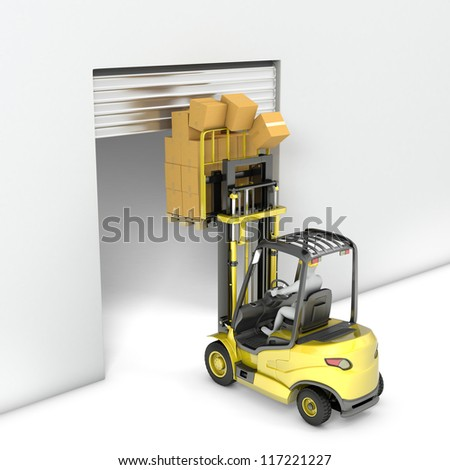 Fork lift truck with high load hits door, isolated on white background