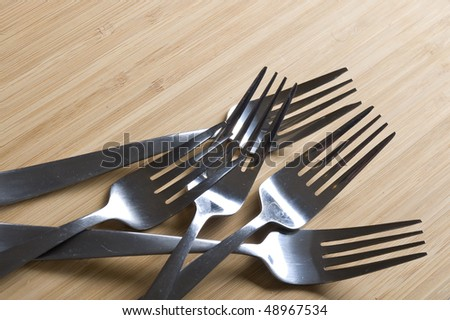 Fork on the table. Background with silverware