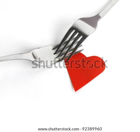 Fork set with heart