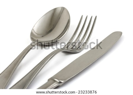 Fork, spoon and knife isolated on white background