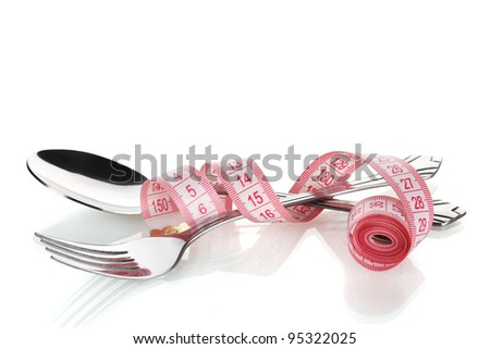 Fork, spoon and measuring tape isolated on white