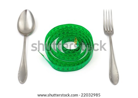 Fork, spoon and measuring tape isolated on white background