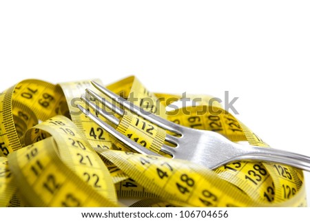 Fork with measuring tape isolated