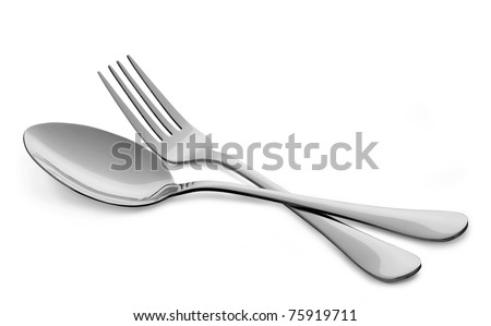 fork with spoon isolated on white