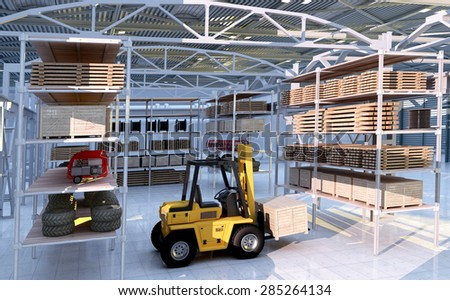 Forklift among the materials in the hangar. #285264134