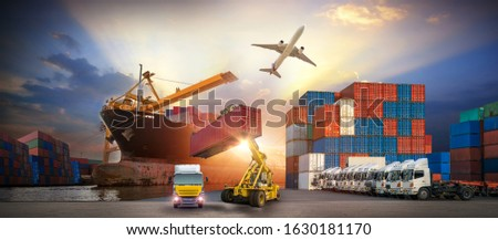 forklift handling container box loading to truck in import export logistic, Business logistics concept