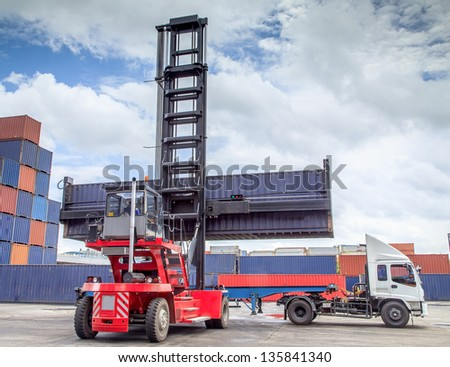 forklift handling the container box load to big truck