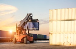 forklift handling the container loading transport Freight train