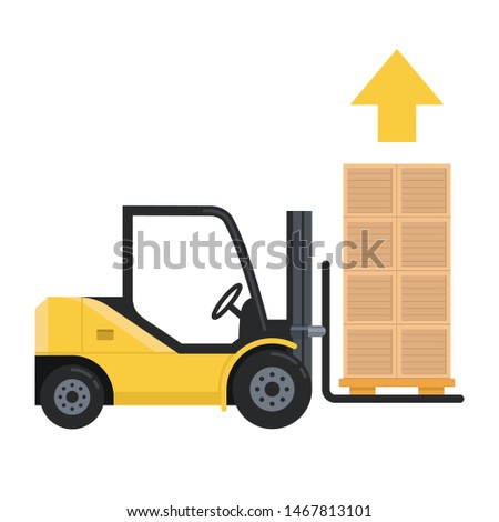 forklift lifts the load up. lots of pallet boxes. Isolated illustration on white background.