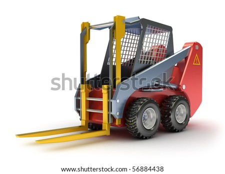 Forklift machine, isolated on white. 3D render.
