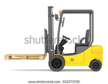 Forklift side view of a forklift truck with an empty for Serie warehouse