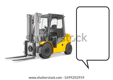 Forklift Truck Isolated on White Background. Industrial Vehicle. Internal Combustion Pneumatic Truck. Diesel Counterbalance Truck. Warehouse Equipment. Yellow Forklift Truck Side View