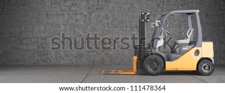Forklift truck on industrial dirty wall background