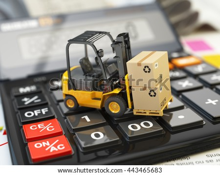 Forklift with cardboxes on calculator. Calculation of shipping delivery costs concept. 3d illustration Stock foto ©