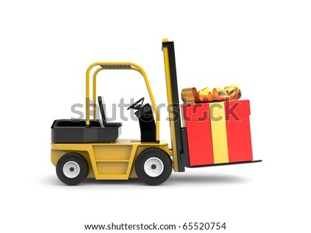 Forklift with gift box - stock photo