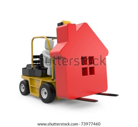 Forklift with house - stock photo