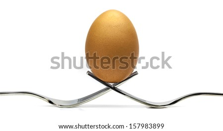 Forks with an egg on white background