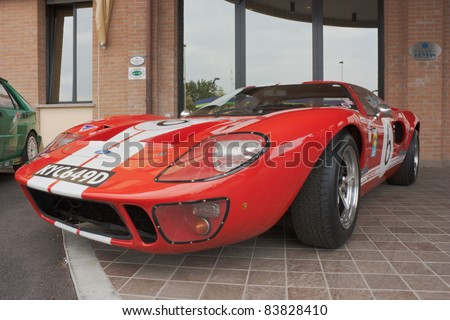 FORLI', ITALY - JULY 2: Ford GT 40 on display at the 22 rally Colline di Romagna on July 2 2011 in Forli', Italy. The Ford GT40 was a high performance car and winner the 24-hours of Le Mans from 1966 to 1969