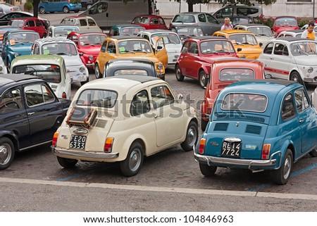 "FORLI' ITALY - JUNE 10: old italian small cars at ""Emozioni in 500"", rally of vintage economy car Fiat 500 on June 10, 2012 in Forli' Italy"
