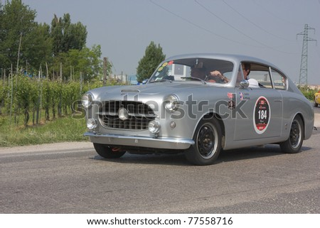 FORLI\', ITALY - MAY 13: Thomas Smith - Donald Polak drives a Siata 1100 TV Vignale (1954) in stage Bologna-Roma of the \