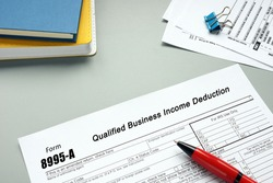 Form 8995-A Qualified Business Income Deduction phrase on the sheet.