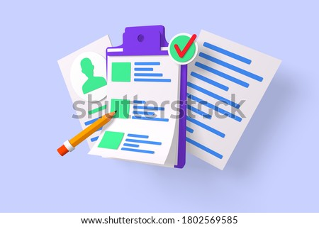 Form 3D render and profile 3d render illustration. Document with personal information 3d style. Profile picture and red check. Identification and access concept. Isolated on blue background