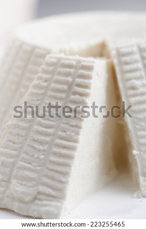 Form of fresh ricotta with fresh ricotta cheese slice cut shape with slice cut out
