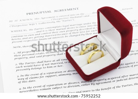 Form of prenuptial agreement with a pair of wedding rings