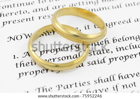 Form of prenuptial agreement with a pair of wedding rings. Shallow DOF on the word PROPERTY , inside the ring