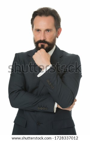 Formal and elegant. Bearded man wear formal suit. Serious lawyer in formal style. Formal work fashion. Dress code. Business outfit. Professional attire. Classy elegance.