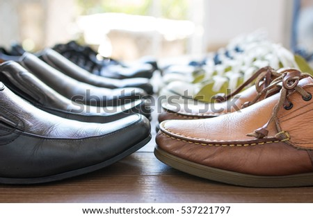 Formal and in formal shoes on wooden floor #537221797