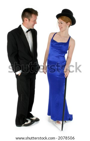 Formal couple standing over white.