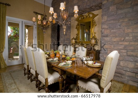 Dining Room Table Set For Dinner formal dining room table set for dinner stock photo 66517978