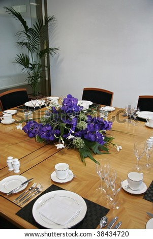 Formal Dining Table Set Up With Flowers Stock Photo 38434720 Shutterstock