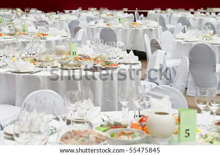 stock photo Formal dinner service as at a wedding banquet