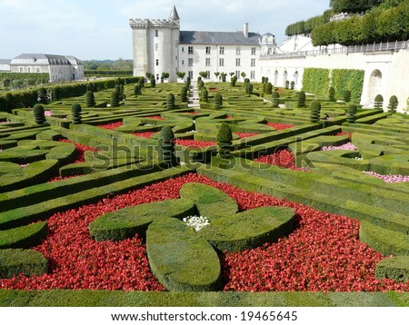 Formal gardens at the Chateau de Villandry in the Loire Valley, France